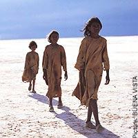 "Fictional shot of Molly, Gracie, and Daisy from ""Rabbit-Proof Fence"""