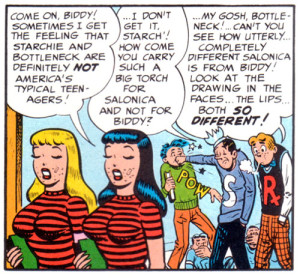 MAD satirizes Archies substitution of hair color for character design. (c) 1953, EC Comics